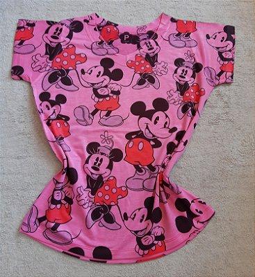 T-Shirt Feminina no Atacado Mickey e Minnie Fundo Rosa