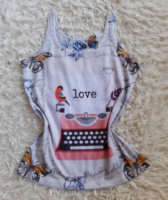 Regata Feminina no Atacado Máquina de Escrever Love
