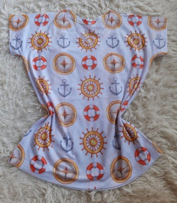 T Shirt Feminina no Atacado Elementos Marítimos