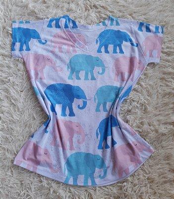 T Shirt Feminina no Atacado Elefantes Coloridos