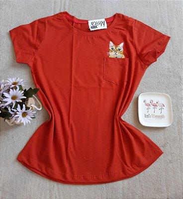 T-Shirt Feminina no Atacado Cat Bolso
