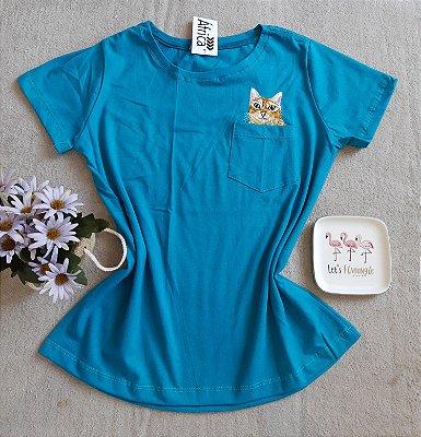 T-Shirt Feminina Para Revenda Cat Bolso