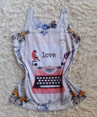Regata Feminina Para Revenda Máquina de Escrever Love