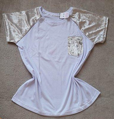 T Shirt Feminina no Atacado Branco e Prata