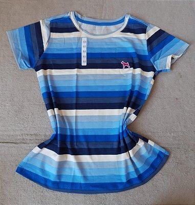 T-Shirt Feminina no Atacado Listras Azuis