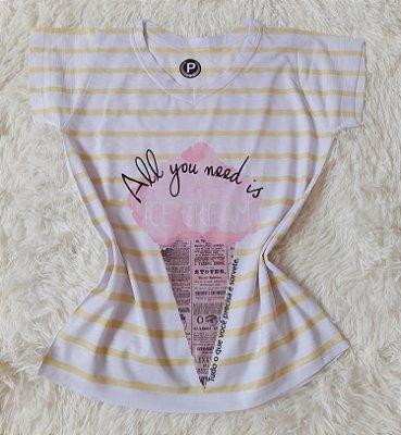 T-Shirt Feminina no Atacado Sorvete Grande