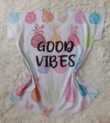 T-Shirt Feminina no Atacado Good Vibes Abacaxis