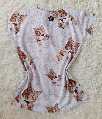 T-Shirt Feminina no Atacado Cats Fundo Paris