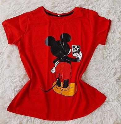 Blusa Feminina no Atacado Mickey Selfie Vermelha