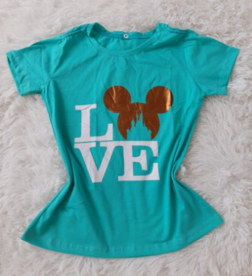 Tee Feminina no Atacado Love Mickey Verde