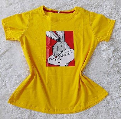 Blusa Feminina no Atacado Pernalonga Fundo Amarelo