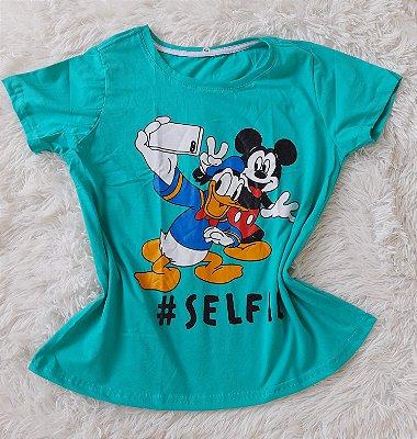 Blusinha Feminina no Atacado Mickey Donald Selfie Verde