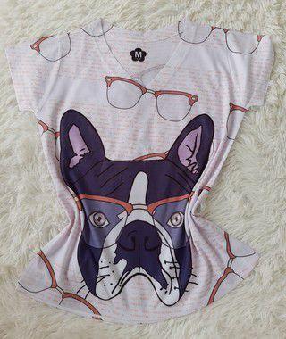 T Shirt Feminina no Atacado Dog Óculos