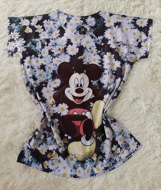 T-Shirt Feminina no Atacado Mickey Fundo Girassol