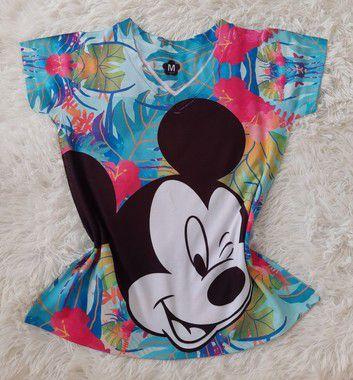 T-Shirt Feminina no Atacado Mickey Rosto Grande