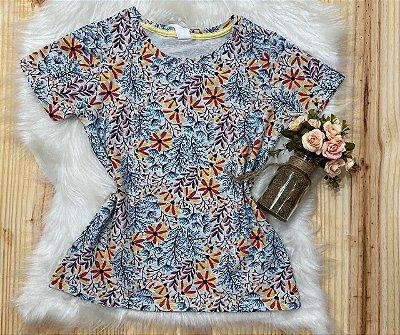 T-shirt Feminina no Atacado floral fundo cinza