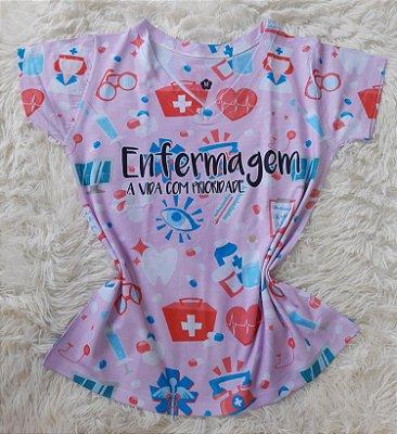 T-Shirt Profissão No Atacado Enfermagem Fundo Rosa