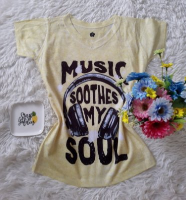 T-Shirt Feminina no Atacado Music