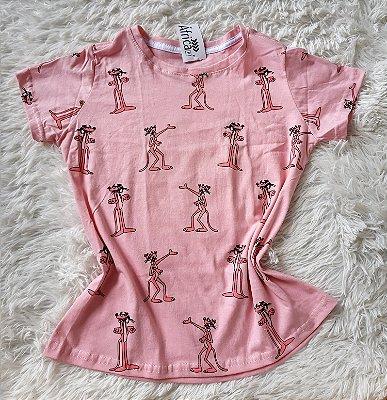 T-shirt feminino no atacado pantera -de-rosa rosa