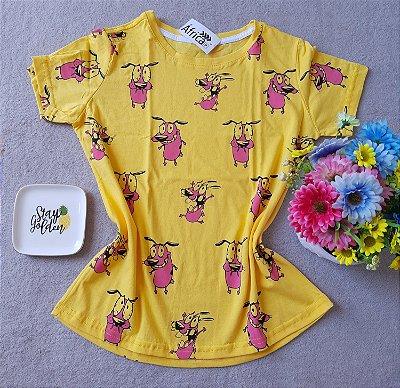 T-shirt Coragem fundo Amarelo
