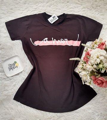 camiseta No Atacado Amor Preto