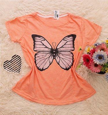Camiseta No Atacado Borboleta laranja