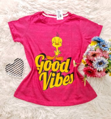 Camiseta No Atacado Good Vibes Rosa
