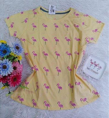 Camiseta  No Atacado Flamingo Amarelo