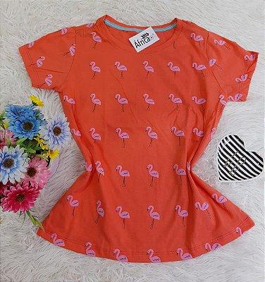 Camiseta  No Atacado Flamingos  Laranja