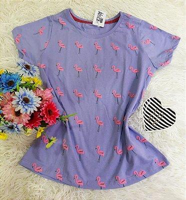 Camiseta  No Atacado Flamingos Roxo