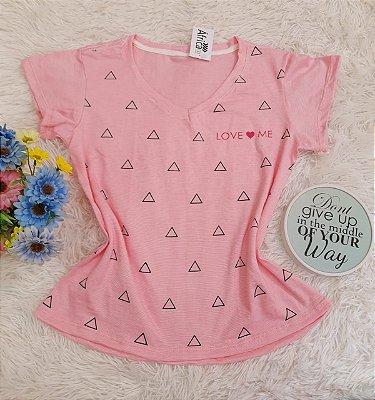 Camiseta No Atacado Love Me Rosa