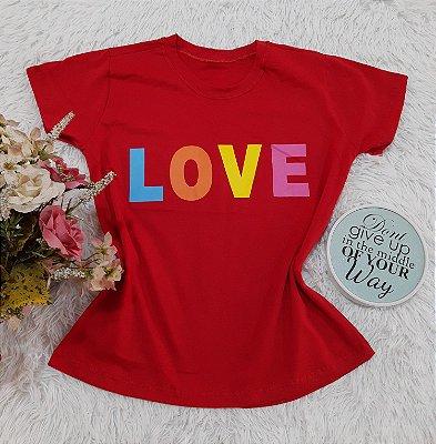Camiseta No Atacado Love Colorido
