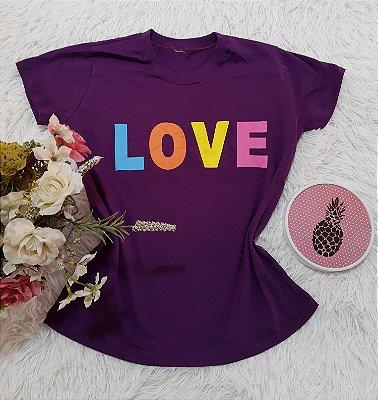 Camiseta No Atacado Love Roxo