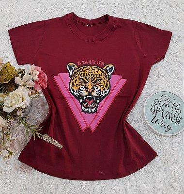 Camiseta No Atacado Tigre Vinho