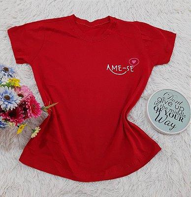 Camiseta No Atacado Ame-se Vermelho