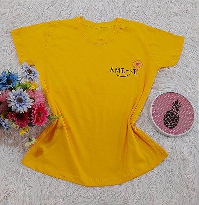 Camiseta No Atacado Ame-se Amarelo