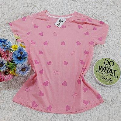 Camiseta No Atacado Coraçao Rosa