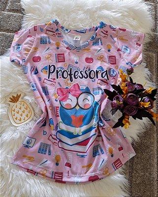 T shirt Feminina Profissão no Atacado Professora Coruja Azul