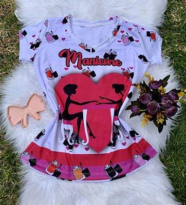 T shirt Feminina Profissão no Atacado Manicure Coração