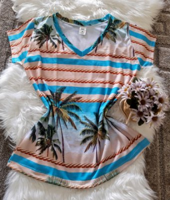 Camiseta Feminina Floral no Atacado Coqueiros Listras