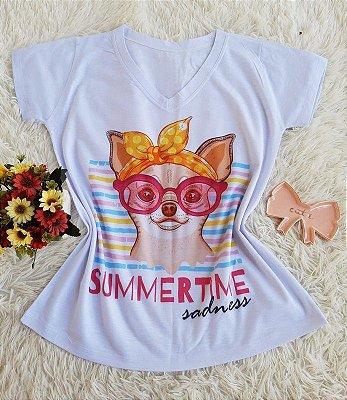 T shirt Feminina Básica no Atacado Dog Summertime