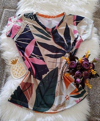 Camiseta Feminina Floral no Atacado Folhas Grandes