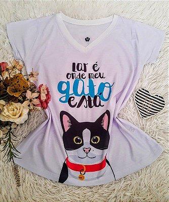 T shirt Feminina Barata no Atacado Gato Lar (Doação)