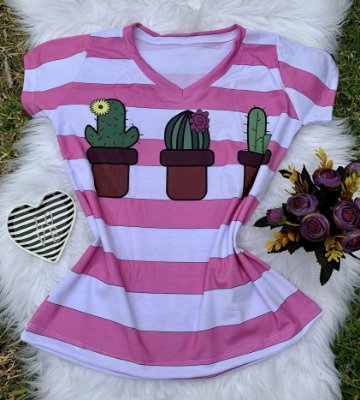 Camiseta Feminina floral no atacado Cacto Listras