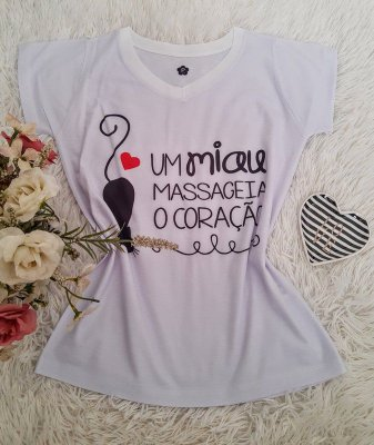 T shirt Feminina Básica no Atacado Gato Miau (Doação)