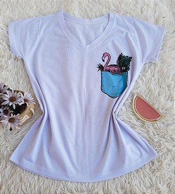 T-shirt Feminina Flamingo Bolso
