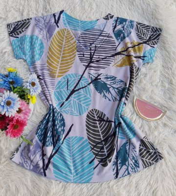 Camiseta feminina Floral no Atacado Folhas Abstratas