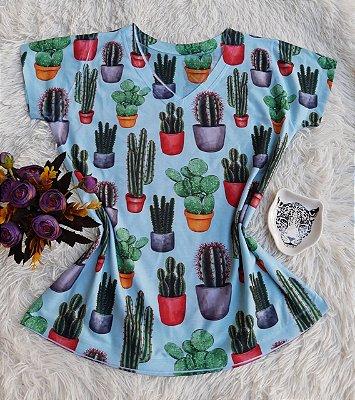 Camiseta Feminina Floral no Atacado Cactos Coloridos