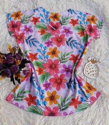 Camiseta Feminina Floral no Atacado Flores Coloridas