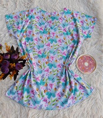 Camiseta Feminina Floral no Atacado Borboletas